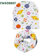 Autumn Winter Baby Hat Child Scarf Collar Infant Hats Scarf Set 2 Pcs In Set Kids Cotton Cartoon Baby Caps Fit 0 to 3 Years Old цена в Москве и Питере