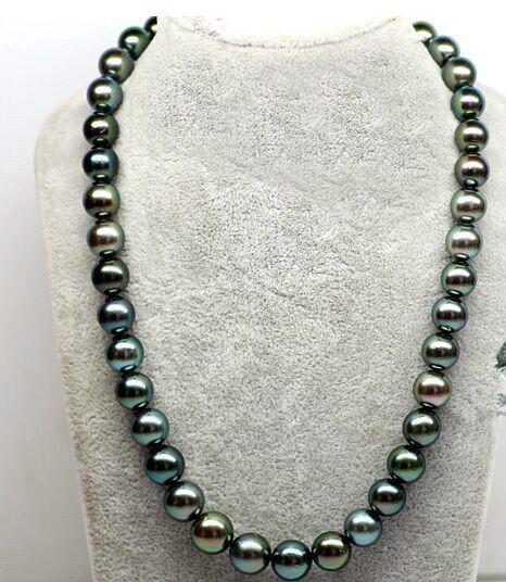 Superbe collier de perles rondes AAA + 12mm deau douce noir vert 18 poucesSuperbe collier de perles rondes AAA + 12mm deau douce noir vert 18 pouces