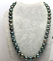 stunning round AAA+12mm freshwater black green pearl necklace 18inch