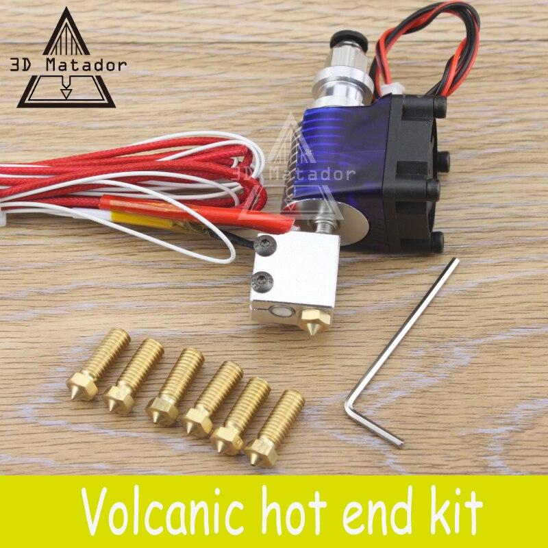 3D Printer accessories parts 12V/24V Volcano kit J-head Hotend for 1.75mm/3.0mm Filament Extruder+7pcs 0.2mm-1.2mm Nozzles