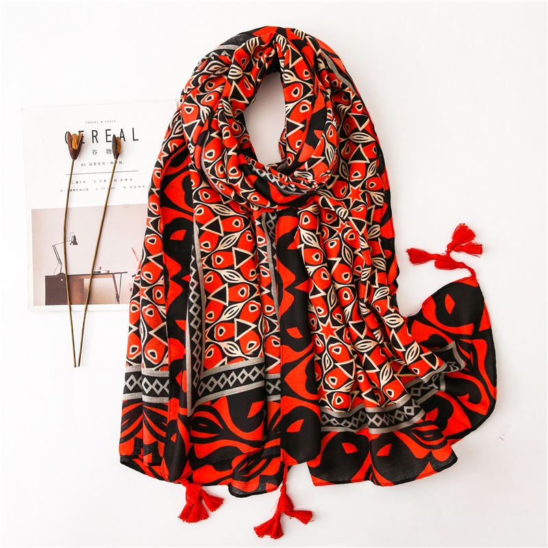 2019 Luxury Brand Aztec Ethnic Tassel Viscose Shawl Scarf Ladies Fashion Thick Head Wraps Pashmina Stole Muslim Hijab 180*100Cm