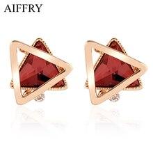 Aiffry 2017 Five Color Triangle Crystal Earrings Luxury Jewelry Fashion Stud Earrings For Women Gift E2347