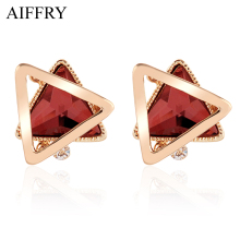 Aiffry 2017 Five Color Triangle Crystal Earrings Luxury Jewelry Fashion  Stud Earrings For Women Gift E2347