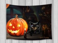 Halloween Decor Tapestry Black Cat Pumkin Candle In Darkness Horror Gothic Style Wall Art Hanging Dorm