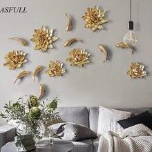 Decorações de parede europeias de flor de resina, acessórios de decoração para casa, fundo de tv, decoração macia