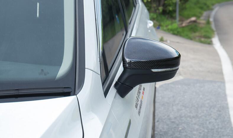 Auto rear view mirror cover trim carbon fiber mirror cap for volkswagen tiguan 2015 2018 car