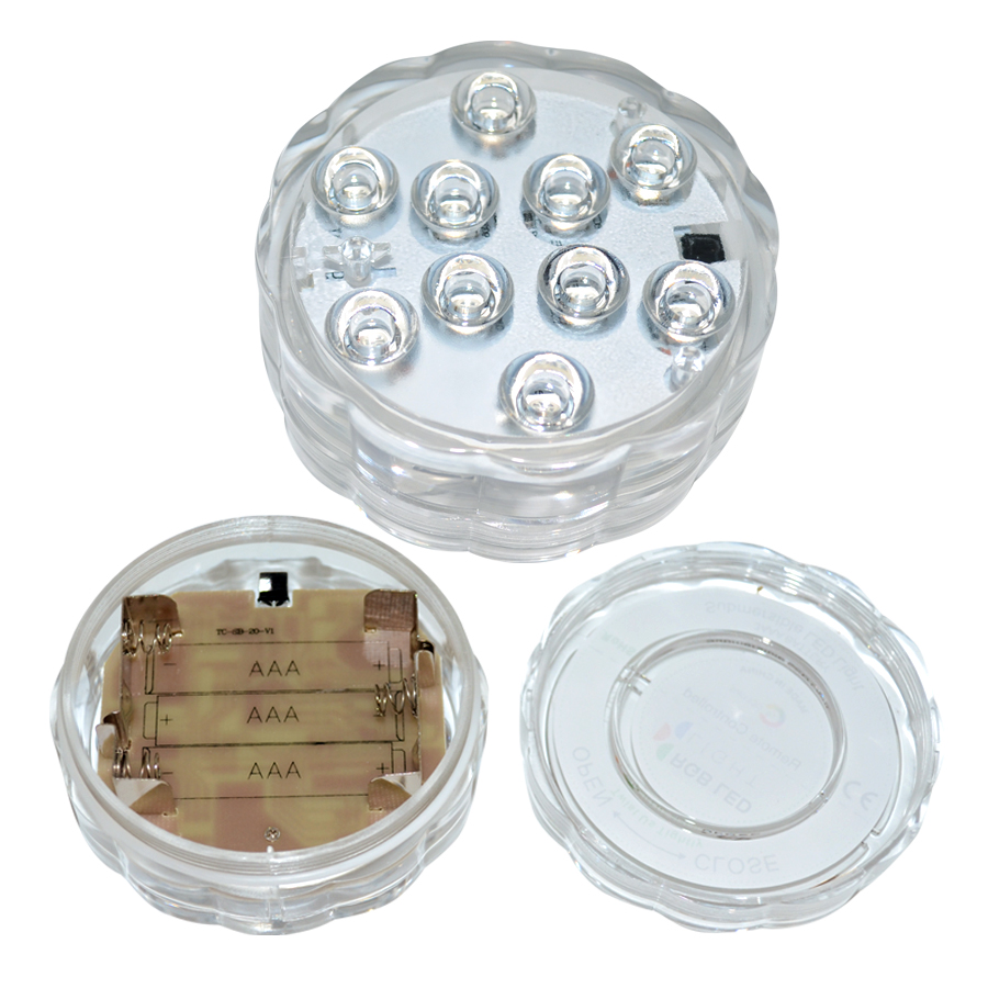 10leds Rgb Led Underwater Light Pond Submersible Ip67 Waterproof Swimming Pool Light Battery