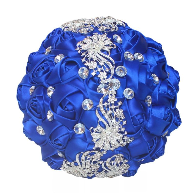 Creative Decorative Bouquet Brooch Satin Ribbon Hand holding Flowers Wedding Bridal Bridesmaid Bouquet Factory Wholesale W208