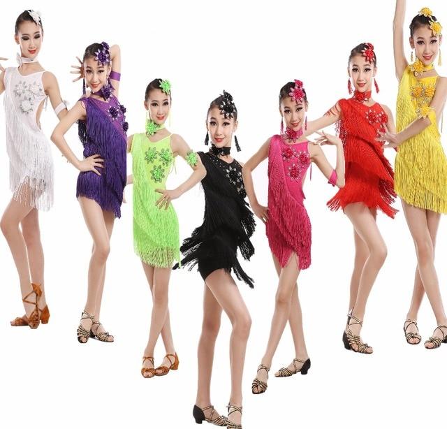 57d8fca6fb921 Child Tassels Latin Dance Ballroom Girls Samba Salsa Dresses Sequin  Costumes Children Tango Dress for Kids Latino Cha Cha dress