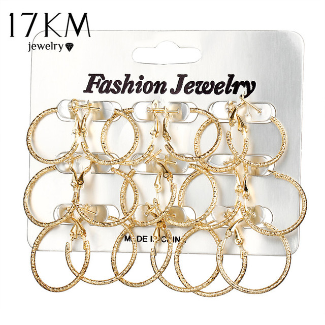 17KM 2 Style Mixed Size Circle Hoop Earrings Set For Women Brincos Round Gold Silver Color Earring Party Jewelry 9 pair/lot