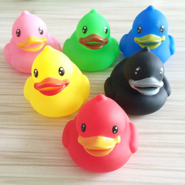 6pcs Colorful Duck Children Water Bath Toys Kids Float Squeeze Sound Rubber  Beach Swimming Pool Baby