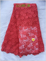 New Arrival High Quality Watermelon Red Color Cord Lace Fabrics African Mesh Cord Lace Guipure Lace