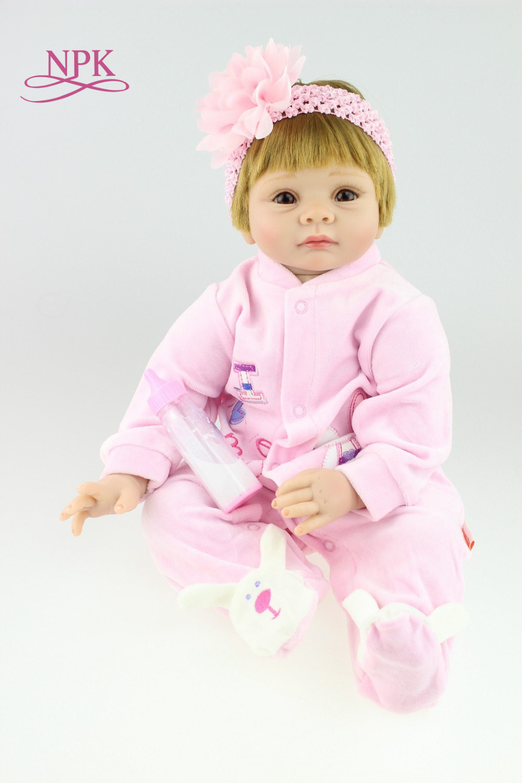 NPK Nette Silikon Rebron Baby Puppen Neugeborenen Baby 22 zoll Realistische Prinzessin puppe Kinder Spielkameraden Bebes Reborn Mode DIY Spielzeug