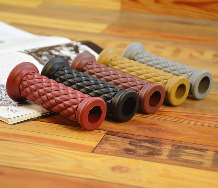 Universal 7/8'' 22MM Vintage rubber Motorcycle handle grips coffee Motorbike handlebar grips Available