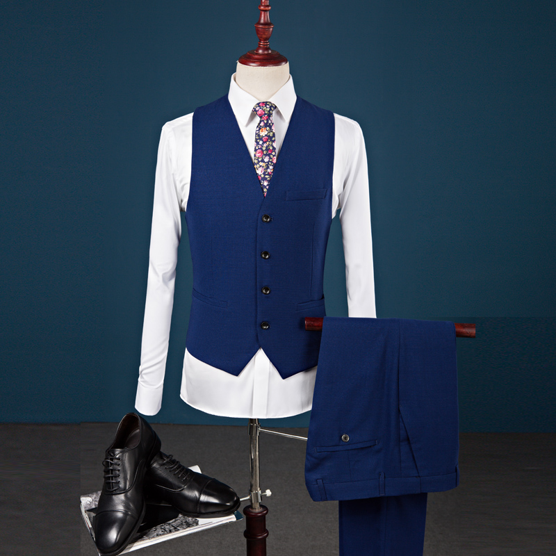 3pcs Men Suit Costume Homme British Slim Fit Blazer Set Fashion Solid Party  Dress Suits Mens Casual Blue Tuxedo Jacket+Pant+Vest-in Suits from Men s ... 3e86ad59e7fd