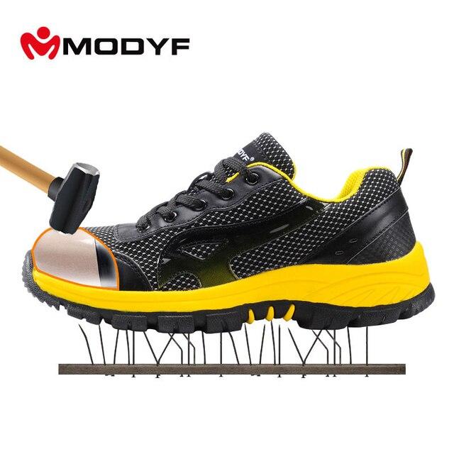 MODYF для мужчин цвет сталь носком кепки Рабочая обувь сетки повседневное дышащие уличные кроссовки проколов обувь (на один размер меньше)