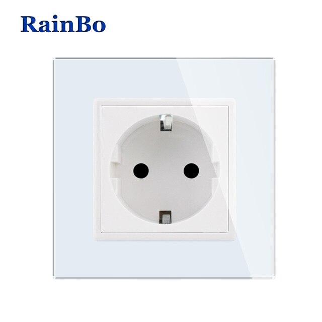Impermeable nuevo enchufe de pared de la UE enchufe de corriente estándar de la UE Panel de cristal blanco AC 110 ~ 250 V 16A toma de corriente de pared A18EW/B