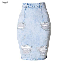 SZYMGS New Fashion Hole Skirts jean Women Summer Sexy Denim Women Pencil Skirt Jeans Skinny