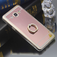 Luxury Mirror Soft TPU for Samsung Galaxy A3 A5 A7 A8 J1 J2 J3 J5 J7 2015 2016 2017 Back Cover Ring Stand Holder Phone Case