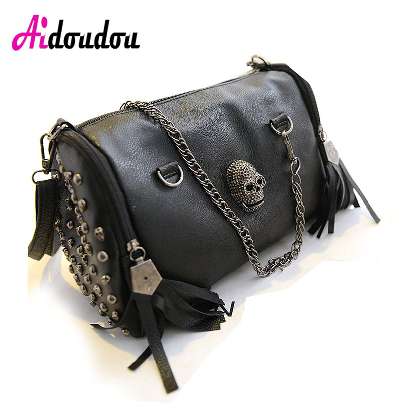 Skull Bolsas New 2018 European And American Style Women Tassel Skull Chain Tote Bag PU Leather Handbags Shoulder Bags Messenger 2017 autumn european and american fashion women s handbags high end atmosphere banquet tote bag dhl speedy shipping
