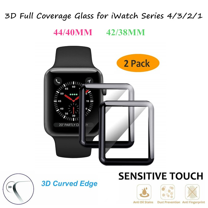 2PCS A Lot For Apple Watch 44MM 40MM Series 4 3 2 1 3D Curved Full Coverage Glass Film for iWatch 42/38MM templered Glass Screen 3d curved full coverage tempered glass film for apple watch flim screen protector 38mm 42mm 44mm 40 9h for iwatch series 4 3 2 1