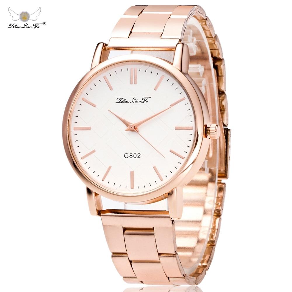 Zhou Lian Fa Women Dress Quartz Watch Lady Stainless Steel Clocks Relogio Relojes Mujer Luxury Male Hours Metal Men's Watch