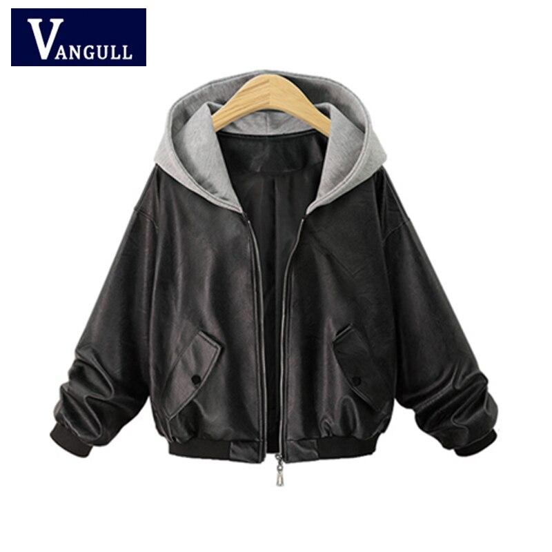 Plus size 4XL Leather Jacket Women Hooded Coat Spliced Cool Fashion Streetwear Coats Autumn Winter PU
