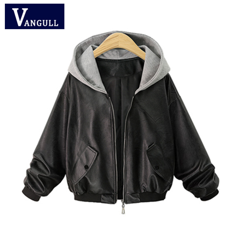 Plus size 4XL   Leather   Jacket Women Hooded Coat Spliced Cool Fashion Streetwear Coats Autumn Winter PU Jackets Outwear 2018 New