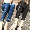 Novo show fina jeans nove minutos de calças pé feminino longo calças lápis contratada v049