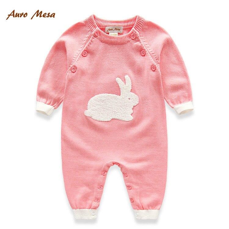 Auro Mesa Lovely Rabbit Baby Տրիկոտաժե Rompers Pink Blue - Հագուստ նորածինների համար - Լուսանկար 1