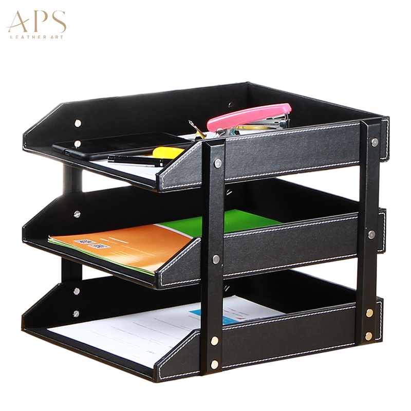 Pu Leather Office Desktop Filing Tray File Organizer Tray