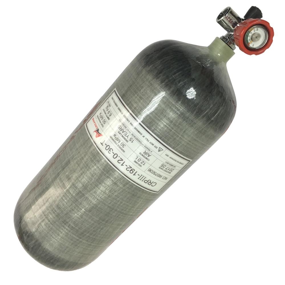 AC31211 Scuba Pcp/Ar/4500psi Tanque 12L GB Carbono Scuba/Cilindro de Gás De Ar PCP Arma de Paintball/ tanque de mergulho de Airsoft Arma Válvula Acecare