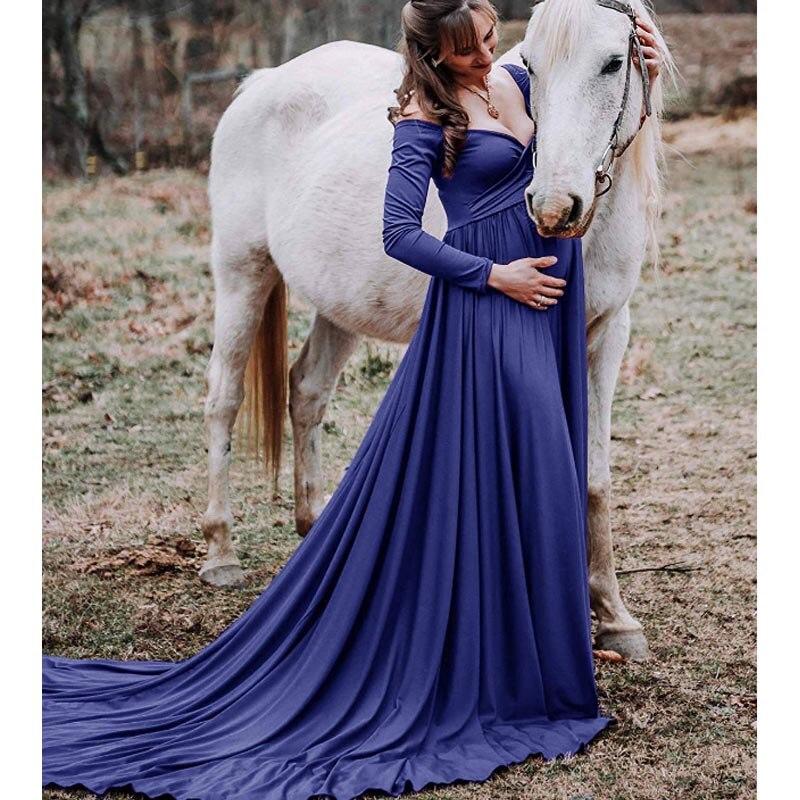 Pregnant Women Long Maxi Maternity Dress Photography Prop Photo Shoot Ball Gown