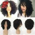 Бесплатный Часть 180 плотность Короткие Вьющиеся Волокна Волос Синтетический Парик Для Афро-Американцев Kinky Вьющимися Парик Синтетический Парик Фронта Шнурка