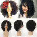 Free Part 180density Short Curly Fiber Hair Synthetic Wig For African Americans Kinky Curly Wig Synthetic Lace Front Wig