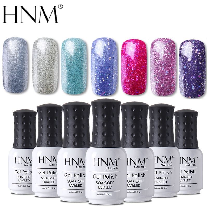 HNM 8ml Bling Glitter UV Nail Gel Polish Long Lasting Shining Lucky Vernis Semi Permanent Enamel Manicure Nail Lacquer Base Top