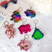 New Cute Chaveiro Bear Cat Dog Keychain for Women Glitter Pompom Sequins Animal Key Chain Kid Gifts Car Key Ring(China)