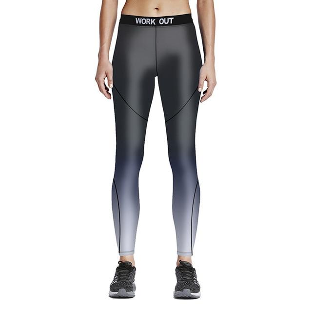 bb96d2b912daa Hot New Mode 3D Femme Fitness Gris avec Motif Argent 9-point taille Haute  pantalon