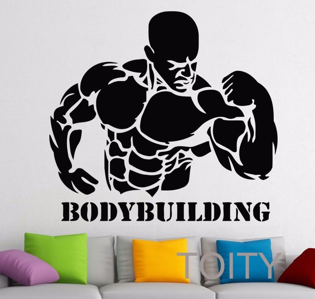 Bodybuilding wall decal sport fitness bodybuilder gym vinyl sticker art decor home boy room removable mural