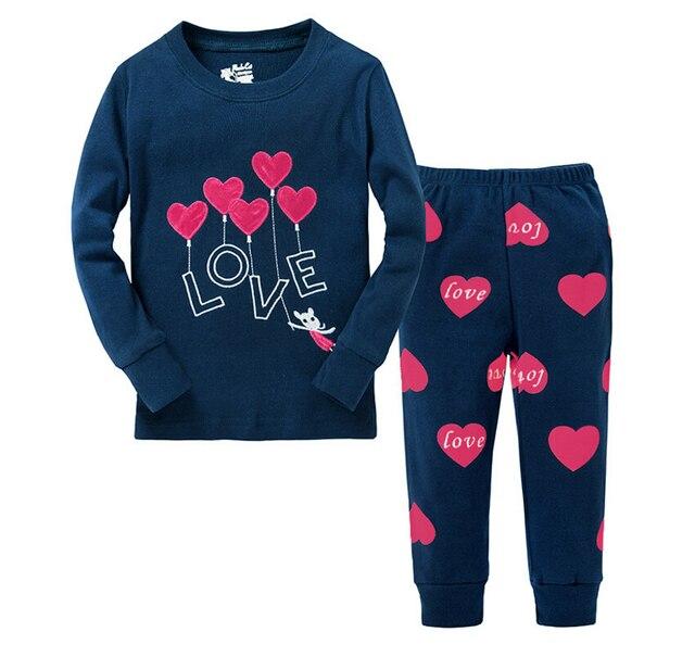 4624562d3b2ecd R$ 47.13 |Meninas coração impresso pijama define Pijamas meninas bonitos  algodão manga comprida primavera outono princesa Pijamas roupa de dormir ...