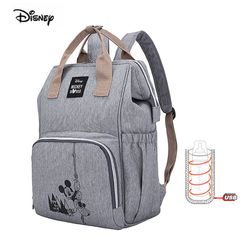 Disney New Baby Bag For Mom USB Bottle Heating Insulated Shoulder Mummy Bag Large Capacity Pregnant Women Nappy Diaper Backpack