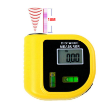 Wholesale 18M Rangefinders Ultrasonic Digital Tape Measure Laser Range Finder Distance Meter & Laser Pointer Rangefinder Level Tool D1043