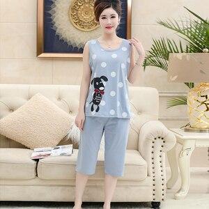 Image 4 - Хлопковая майка, укороченные брюки, пижама для женщин, летний кружевной Женский Повседневный комплект с принтом, с круглым вырезом и коротким рукавом, Женская домашняя одежда женская, Размер 4XL