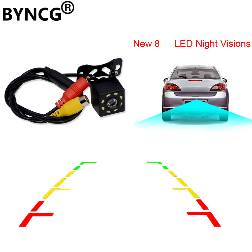 BYNCG 8 LED Night Visions Car Rear View Camera Wide Angle HD Color Image Waterproof Universal Backup Reverse Parking Camera eunavi 8 led night vision car rear view camera universal backup parking camera waterproof shockproof wide angle hd color image