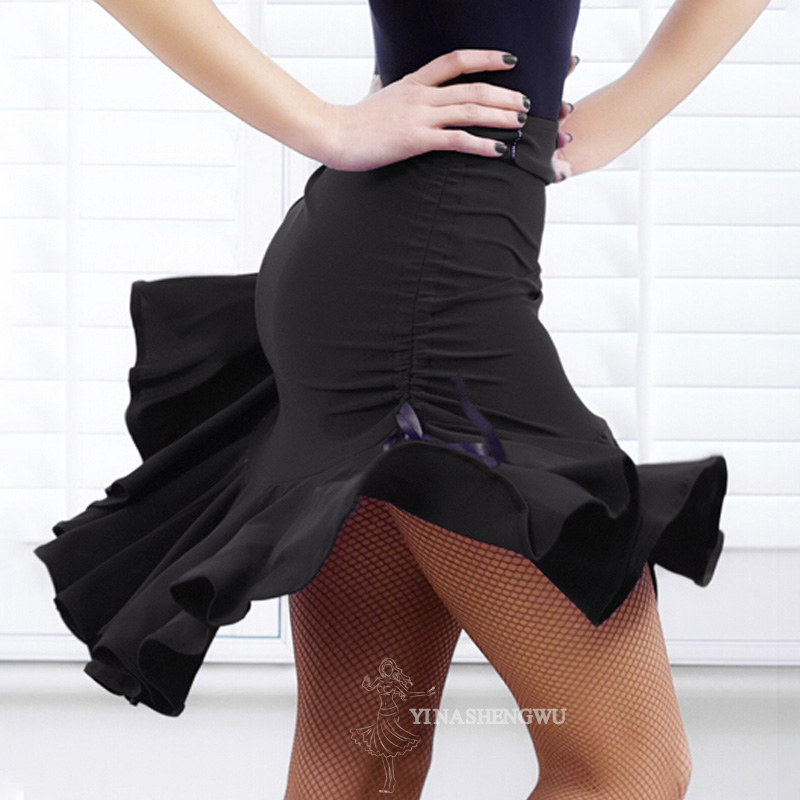 Ladies Latin Dance Skirt Women Square Dance Dress Dance Skirt Black Body Skirt Pull Rope Safety Pants