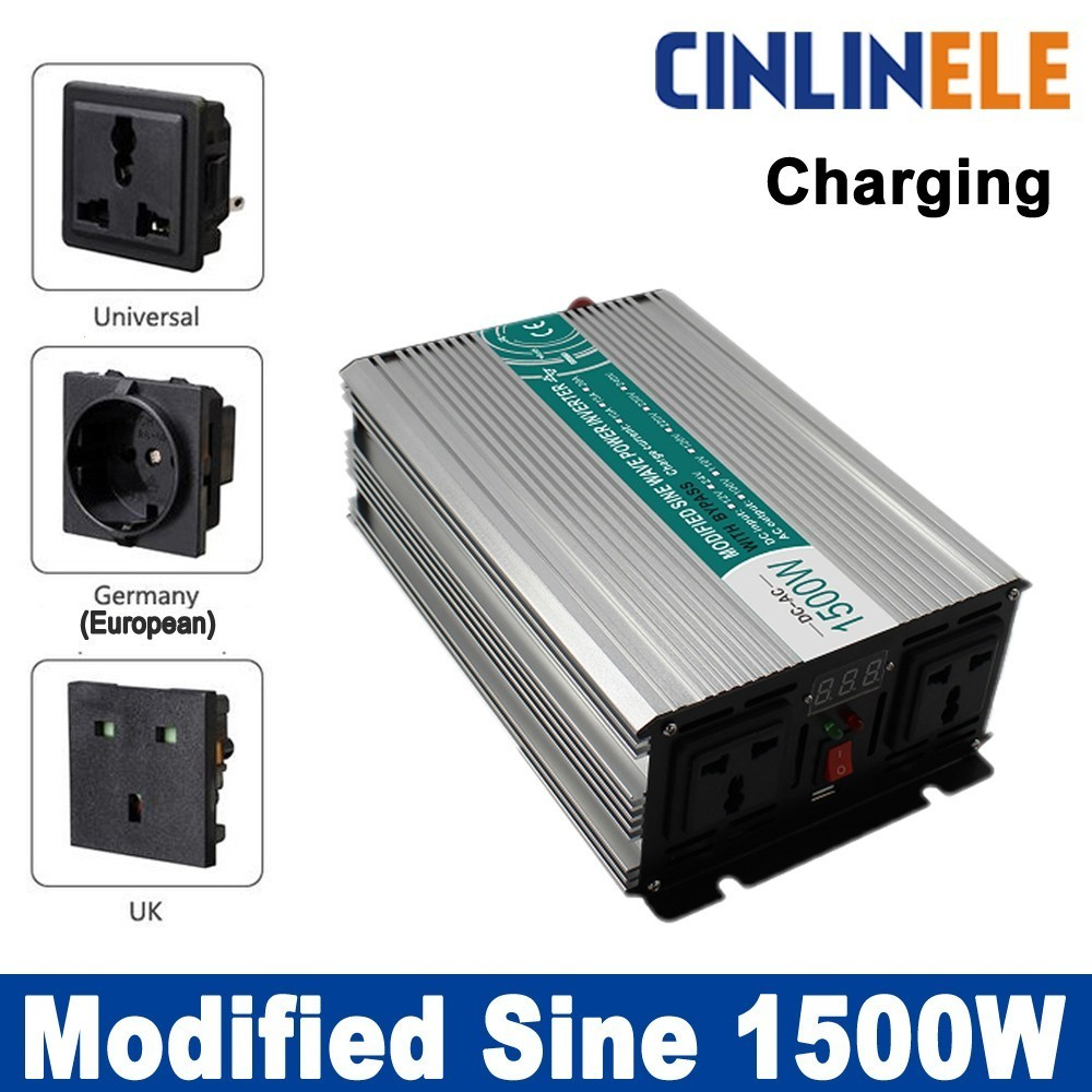 Smart inverter Charger 1500W Modified Sine Wave Invert CLM1500A DC 12V 24V 48V to AC110V AC220V 1500W Surge Power 3000W 3000w dc24v to ac220v modified wave power inverter charger