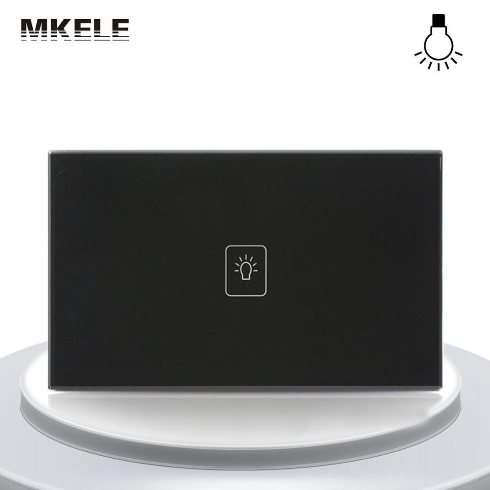 makerele Remote Control Light Switches Dimmer Wall Switch US Standard Controller Touch Sensor 1 Gang Way Black Glass Panel LED us 1gang remote controller switches tempered glass panel hand touch switches bedroom light switch smart home wall switch