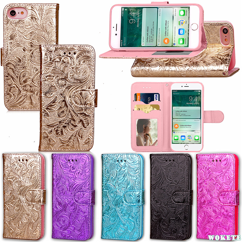 luxury bling pomegranate flower pu leather soft silicone wallet flip cover for iphone 7 stand