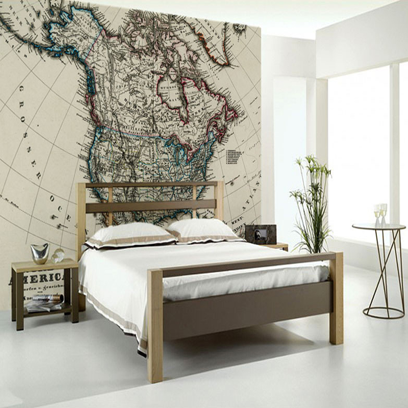 Children's wallpaper,1872 Antique Map of North America,retro photo murals for kids rooms study living room background PVC