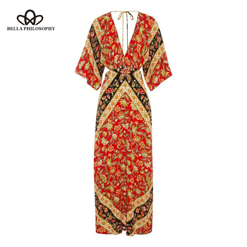 Bella Philosophy 2018 Autumn Winter Dress Women Hollow Out Flowers Print Maxi Dress Female Sashes Batwing Sleeve A-Line Dress